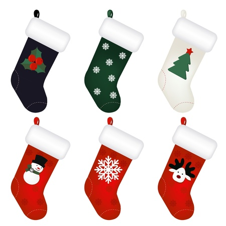christmas sock: Set Of New Years Socks  Illustration