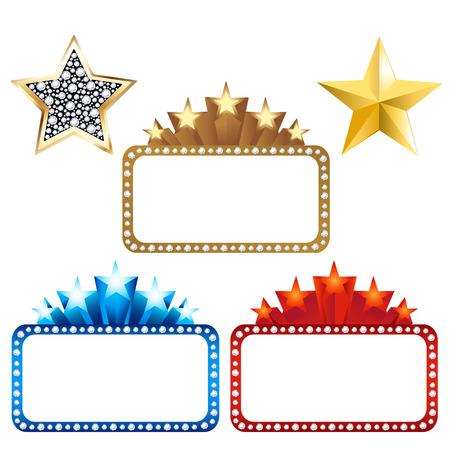 marquee sign: 3 cartelloni vuoto di stelle e 2 stelle d'oro, isolato su sfondo bianco, illustrazione vettoriale Vettoriali
