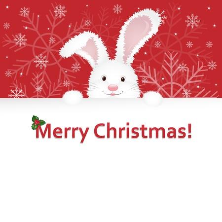 congratulatory: Christmas Rabbit, Symbol Of Year, With Congratulatory Text, Vector Illustration Illustration