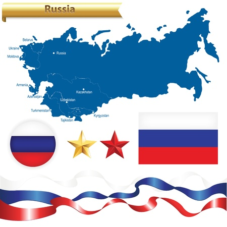 federation: Russian Federation Set, Russia Map (CIS — Commonwealth of Independent States) With Flag, Badge And Stars, Isolated On White Background, Vector Illustration