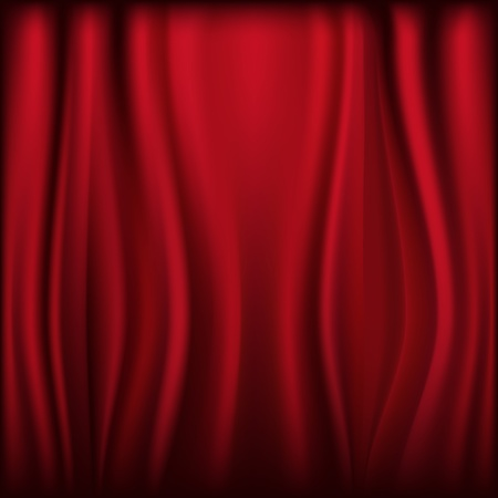 Theater Velvet Curtain With Lights And Shadows, Vector Illustration
