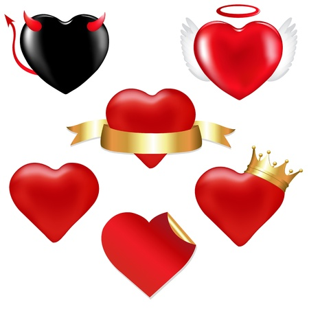feb: 6 Hearts, With Tape, Crown, In Form Of Chocolate, Angel And Demon, Vector Illustration