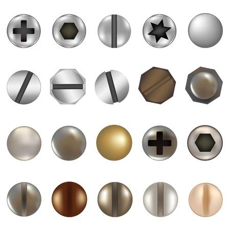 pernos: Pernos y tornillos, aisladas en fondo blanco, ilustraci�n vectorial