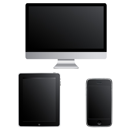 handheld computer: Contemporary Gadgets - Computer, Smart Phone And Touchpad Pc, Isolated On White Background, Vector Illustration