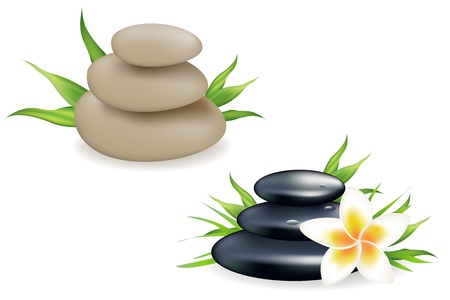 meditation stones: Spa Still Life With Frangipani, Stones And Bamboo Leaf, Isolated On White Background, Vector Illustration