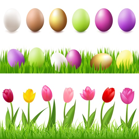brown egg: 6 Easter-Eggs, Eggs In Grass And Grass Panorama, Isolated On White Background, Vector Illustration
