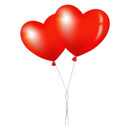 enamoured: 2 Balloons, Isolated On White Background, Vector Illustration