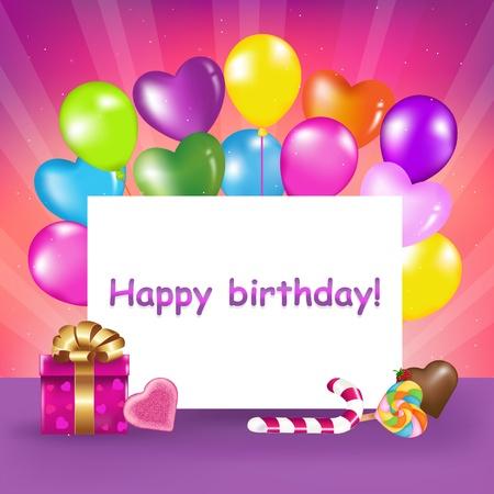 felicitaciones de cumplea�os: Lista de decoraci�n para el cumplea�os con globos, dulces y regalos, ilustraci�n vectorial