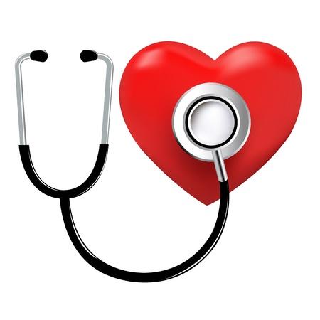estetoscopio corazon: Estetoscopio y coraz�n, aislados en fondo blanco, ilustraci�n vectorial