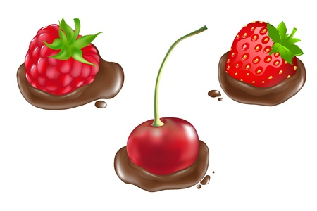 chocolate splash: Strawberry, Raspberries And Cherry In Chocolate, Isolated On White Background, Illustration Illustration