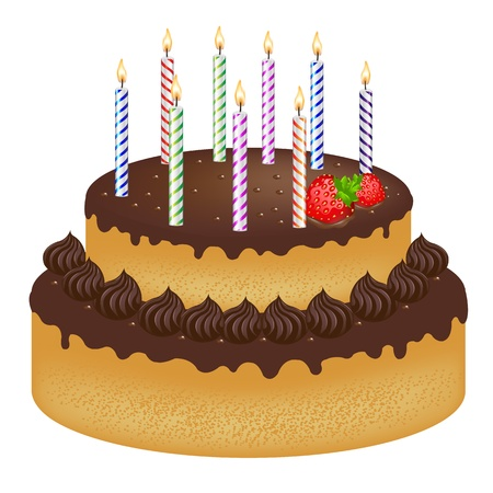 trozo de pastel: Pastel de cumplea�os con fresa y velas de Color, aislados en fondo blanco, ilustraci�n