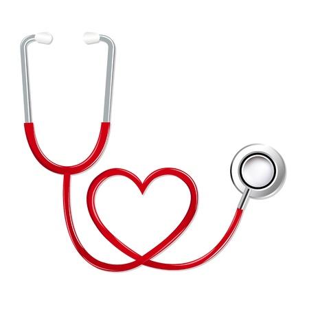nursing treatment: Estetoscopio en forma de coraz�n, aislado en fondo blanco, ilustraci�n