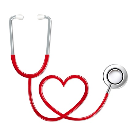 Stethoscope In Shape Of Heart, Isolated On White Background,   Illustration