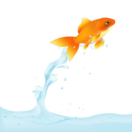 tank fish: Goldfish Leaping Out Of Water,  Illustration