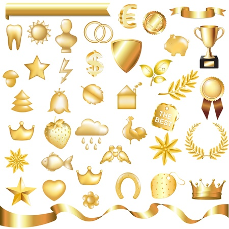 Collection Of Gold Elements, Isolated On White Background,  Illustration
