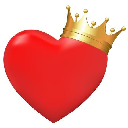 heart and crown: Cuore nella corona, isolato su sfondo bianco, illustrazione Vettoriali