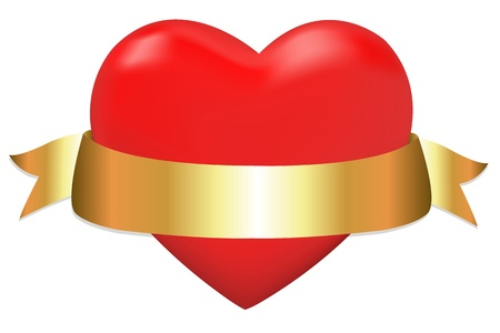 Red Heart With Golden Ribbon, Isolated On White Background,   Illustration Vector