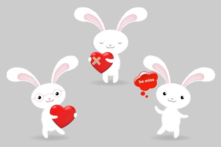 3 Rabbits With Hearts, Valentines Day Greeting Card, Illustration Vector