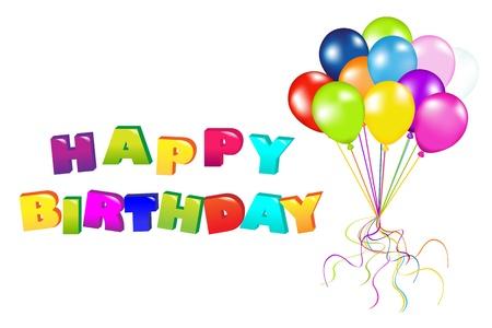 verjaardag frame: Decoratie klaar voor verjaardag met ballonnen, geïsoleerd op een witte achtergrond, illustratie
