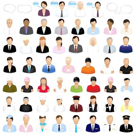 avatars: Icone delle persone con le bolle di discorso, isolate su sfondo bianco, illustrazione