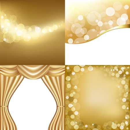 famous painting: 3 Gold Background con stelle e cortina di oro, illustrazione