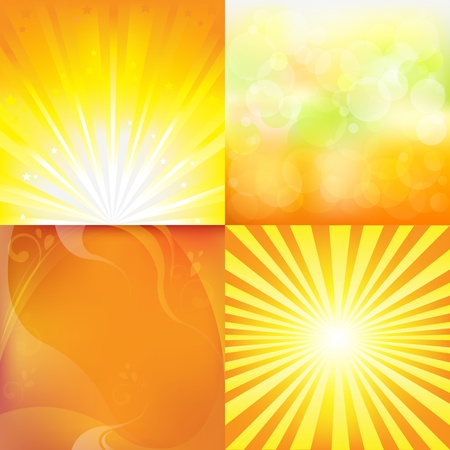 4 Sunburst  And Abstract Backgrounds, Illustration Stock Vector - 8753606
