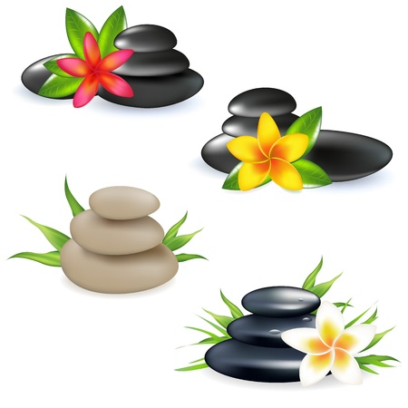 zen stone: 4 Spa Still Life With Frangipani, Stones And Bamboo Leaf, Isolated On White Background, Illustration Illustration