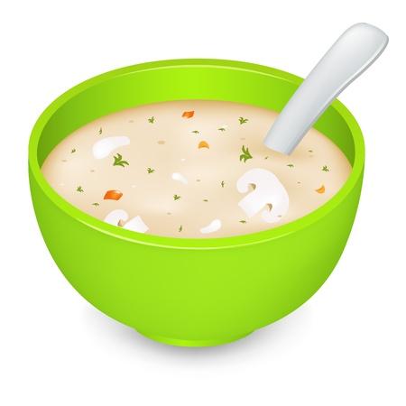 fine cuisine: Zuppa di crema funghi In lamiera verde, isolato su sfondo bianco, illustrazione vettoriale