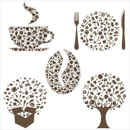 cubiertos de plata: Iconos de restaurante en forma de �rbol, grano de caf�, Copa, cuadro y placa con Plug Y cuchara, aislado sobre fondo blanco, ilustraci�n vectorial