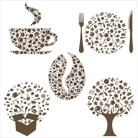 menu land: Restaurant Icons In Form Of  Tree, Coffee Grain, Cup, Box And Plate With Plug And  Spoon,  Isolated On White Background, Vector Illustration Illustration