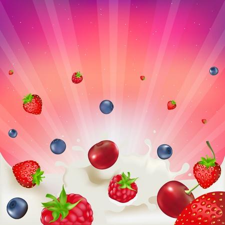 blueberries: Strawberry, Raspberry, Bilberry And Cherry,  Falling Into Splash Of Milk, Vector illustration