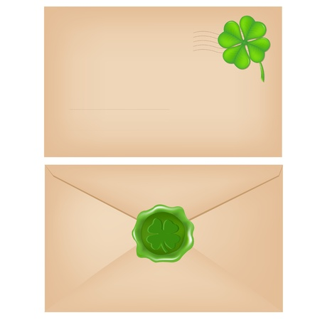 2 Envelopes With Wax Seal And Clover, Isolated On White Background, Vector Illustration Vector