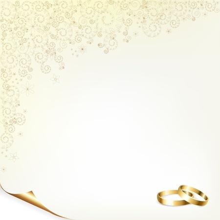 anillos de boda: Fondo de boda con anillos de oro, ilustraci�n vectorial