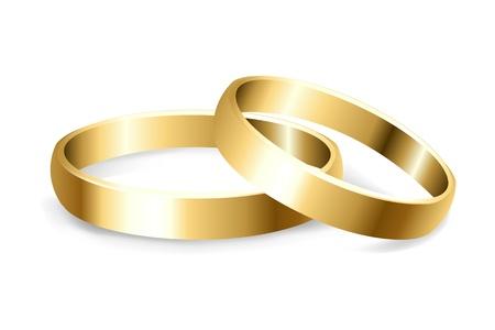 propuesta de matrimonio: 2 Anillos de boda de oro, aislado sobre fondo blanco, ilustraci�n vectorial