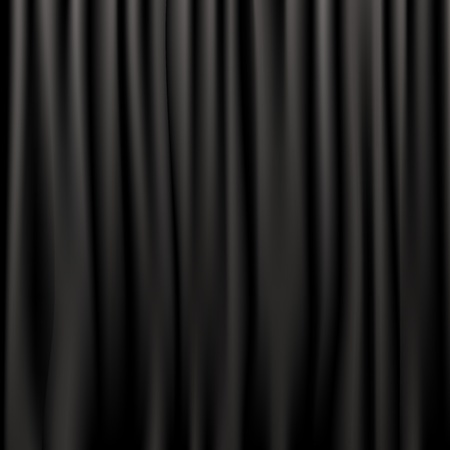 Black Silk Curtains, Vector Illustration