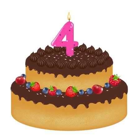trozo de pastel: Pastel de cumplea�os con vela Y Berry, aislado sobre fondo blanco, ilustraci�n vectorial