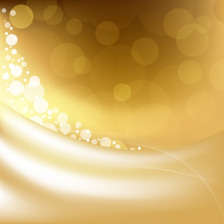 snowy background: Golden Background With Stars And Bokeh, Vector Illustration