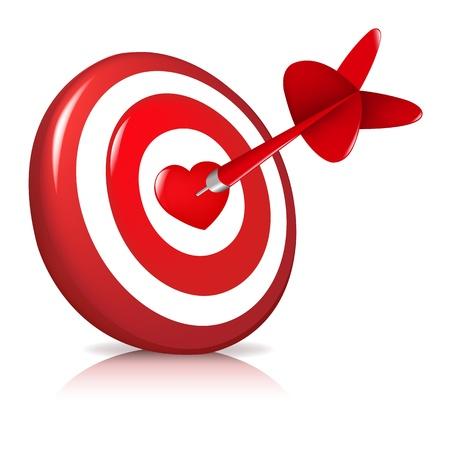 arrow target: Dart Hitting A Target, Isolated On White Background, Vector Illustration Illustration