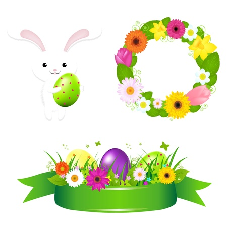 Happy Easter Icons, Isolated On White Background, Vector Illustration illustration