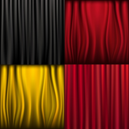 claret: 4 Silk Curtains, Vector Illustration Illustration