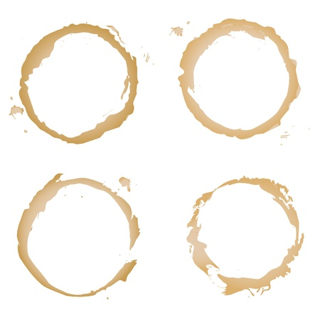 Collection Coffee Stain, Isolated On White Background, Vector Illustration Vector
