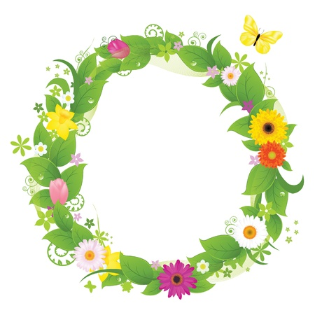 wreath vector: Wreath From Flowers And Leaves, Isolated On White Background, Vector Illustration
