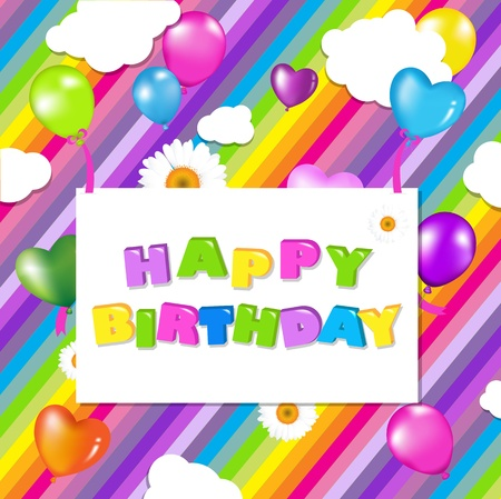 bright card: Colorful Birthday Illustration Design, Vector Illustration Illustration