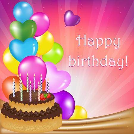 gateau anniversaire: Carte de la f�te anniversaire, Illustration vectorielle Illustration