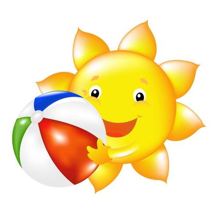 dia soleado: Sun feliz con pelota de playa, ilustración vectorial