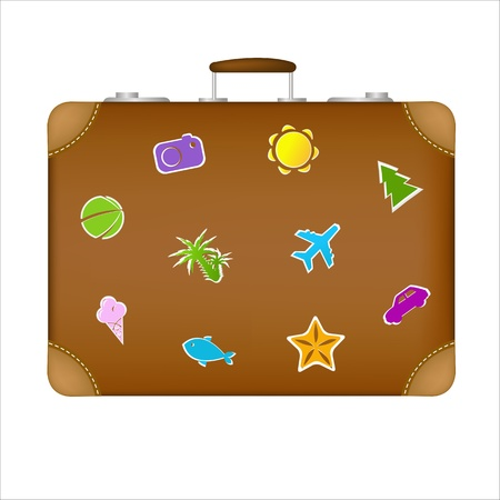 Suitcase Travel Stickers, Isolated On White Background, Vector Illustration Stock Vector - 9086534