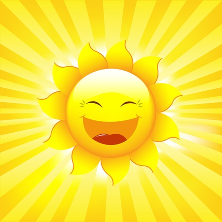 smiling sun: Sun And Rays, Vector Illustration
