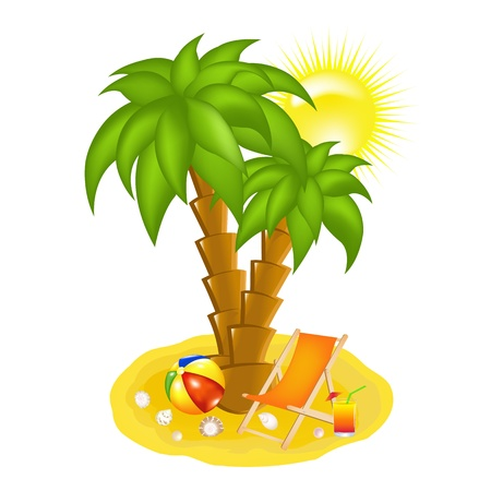 Palm Tree On Beach, Chaise lounge And Cocktail, Vector Illustration