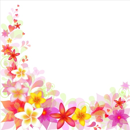 Abstract Floral Background With Frangipani, Isolated On White Background, Vector Illustration