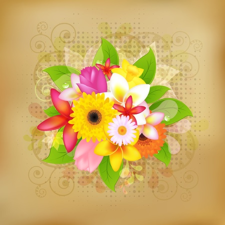 Flower Background On Old Paper, Vector Illustration Vector